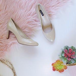 Tan Alex Marie Textured Patent Heels Size 7 1/2